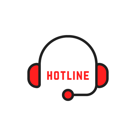 abstract simple thin line hotline logo