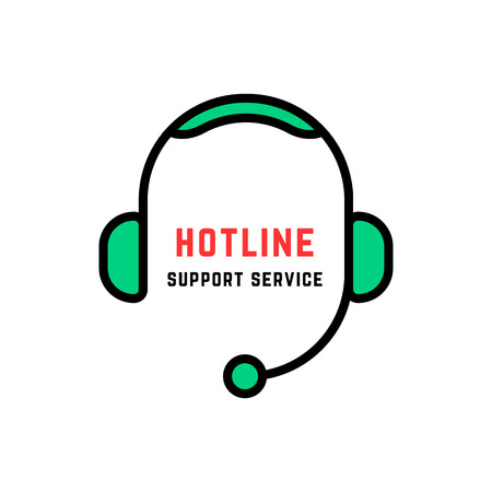 linear style abstract hotline logo isolated on white