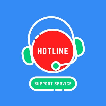 color linear hotline support service sticker