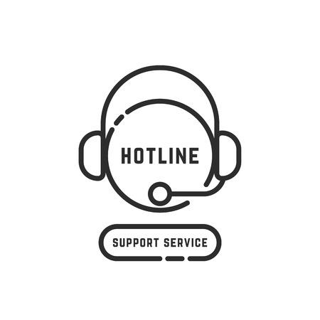 hotline support service black thin line logo Illustration