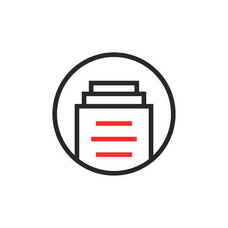 thin line report round logo isolated on white Illustration