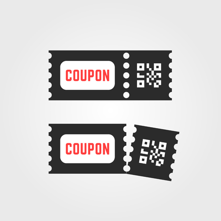 black ticket coupon icon with qr code