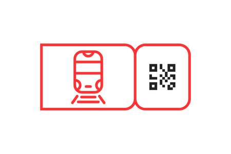 red metro ticket icon with qr code