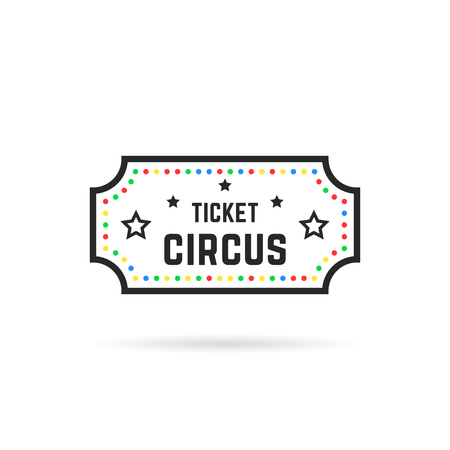 color and black thin line circus ticket logo Stock Photo