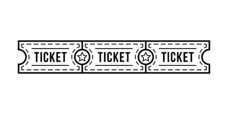 black thin line tickets strip with star