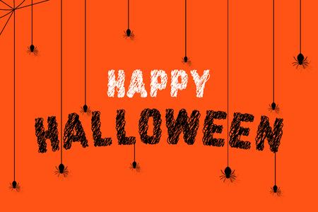 spiders on scribble happy halloween text Foto de archivo - 104631165