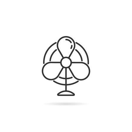 simple thin line black fan logo for airflow