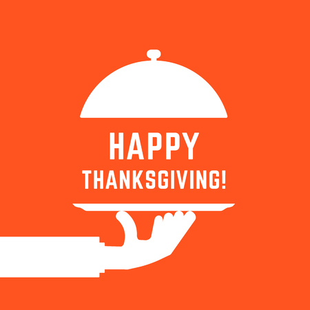 happy thanksgiving text with white serving hand Banque d'images - 106450356
