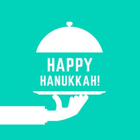 glücklicher Chanukka-Text mit weißer Servierhand
