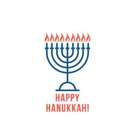 simple thin line happy hanukkah logo with candles