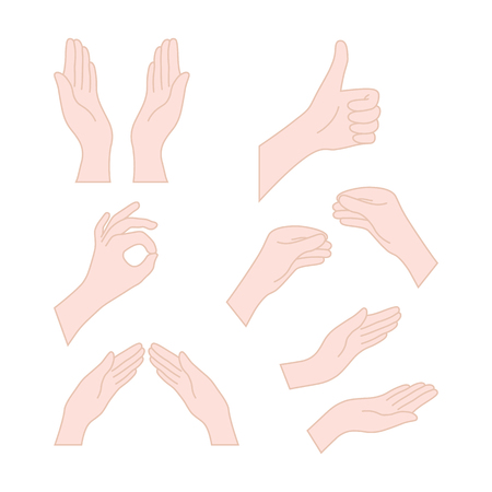 thin line drawing flesh color hands 向量圖像