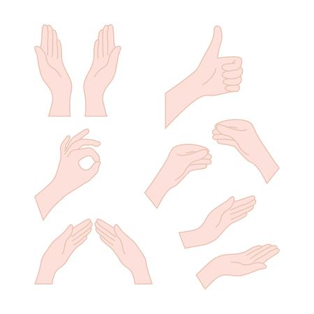 thin line drawing flesh color hands Illustration