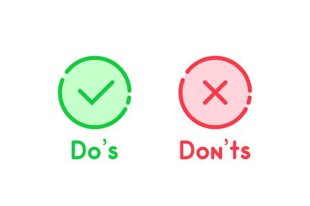 icône de dos et à ne pas faire de dessin animé simple Vecteurs