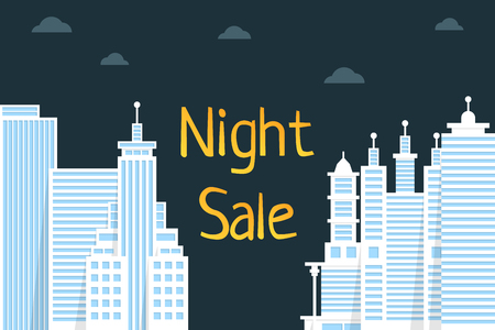 night sale with flat style city. simple trend modern graphic or rebate cartoon design on background. concept of mega discount like shopping in town or internet and clearance banner for e-commerce