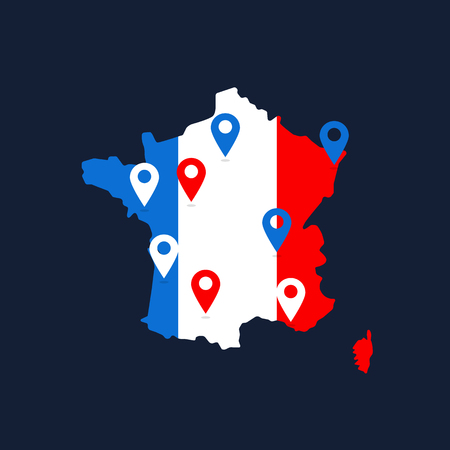 france map with colored geolocation point