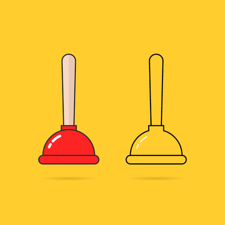 set of two thin line plunger icon