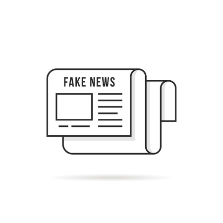 thin line fake news logo like newspaper Stock Photo