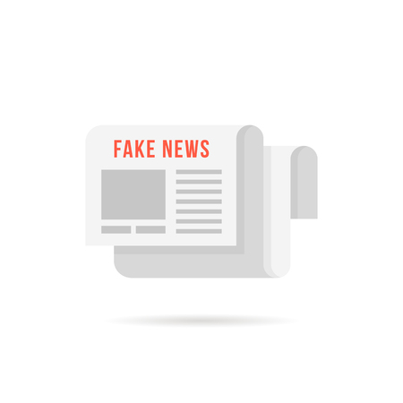 fake news logo like newspaper with shadow