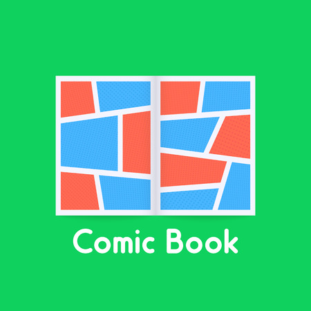 colored comic book on green background