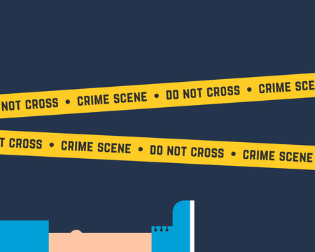 flat style crime scene with corpse Illustration