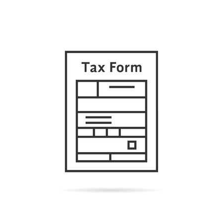 thin line tax form icon with shadow