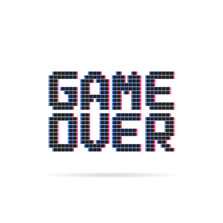 game over logo like glitch pixel art style