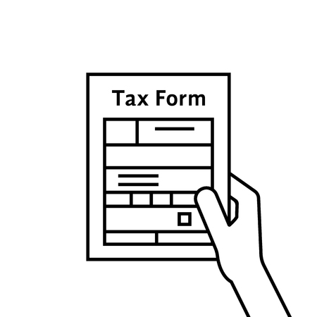 black hand holding thin line tax form Stock Photo