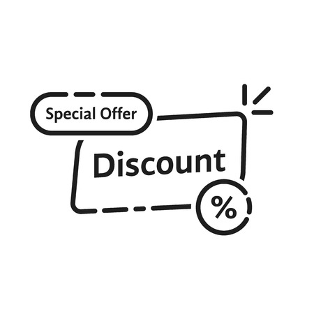 black linear discount label icon