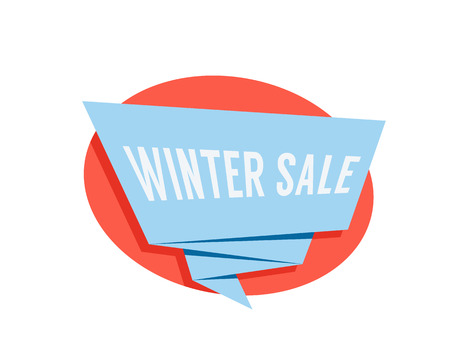 winter sale color label isolated on white