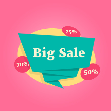 color big sale label isolated on pink