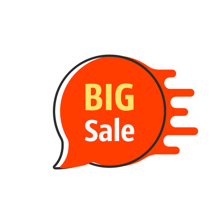 big sale red thin line bubble label
