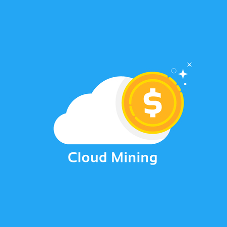cloud mining logo like cryptocurrency profit Stock Photo