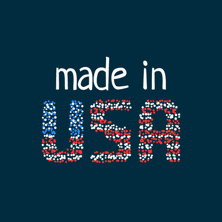made in usa logo from colorful dots Stock Photo