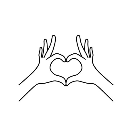 thin line heart hand gesture black icon