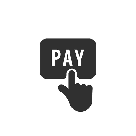 black finger push on pay button icon