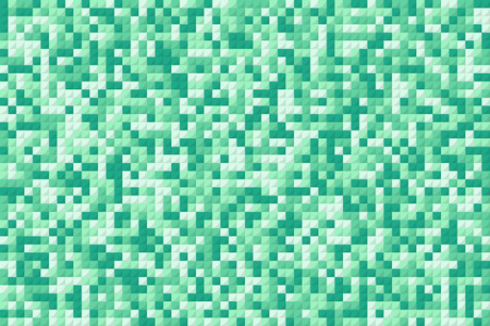 green pixel squares like mosaic background. concept of geometric backdrop for footer or header and greeting card or poster cover. cartoon flat pixelart trend style modern graphic design element Ilustração