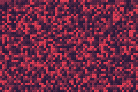red mosaic squares like pixel background. cartoon flat pixelart modern graphic design gradient element. concept of geometric bloody backdrop for footer or header and greeting card or poster cover