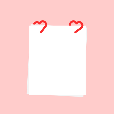 white sheet with paper clip like heart. flat simple cartoon style trend modern graphic design. concept of notepad doc or stack of documents template and correspondence between lovers