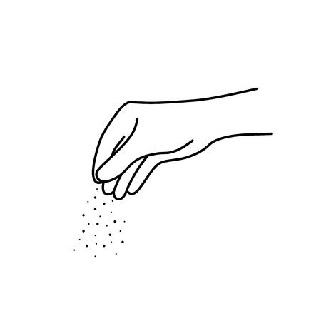 dunne lijn chef-kok vrouw hand met zout