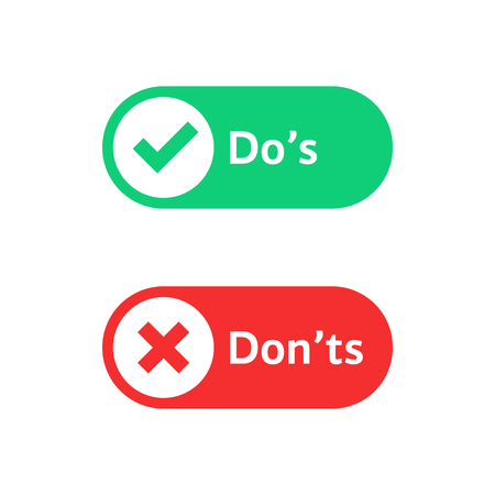 check marks ui button with dos and donts