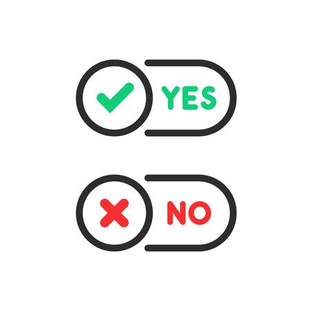 check marks yes and no ui button Vektorové ilustrace