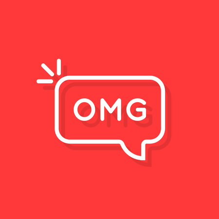 white thin line omg word in bubble. concept of oh my god text like surprise short message for web chatting or people stress emotion. flat simple trend logotype art graphic design element on red Logo