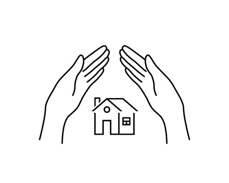 real estate insurance with linear hands Illustration