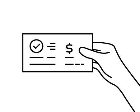 black contour hand holding bank check Vectores