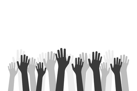 black hands up like volunteer crowd Foto de archivo - 121366366