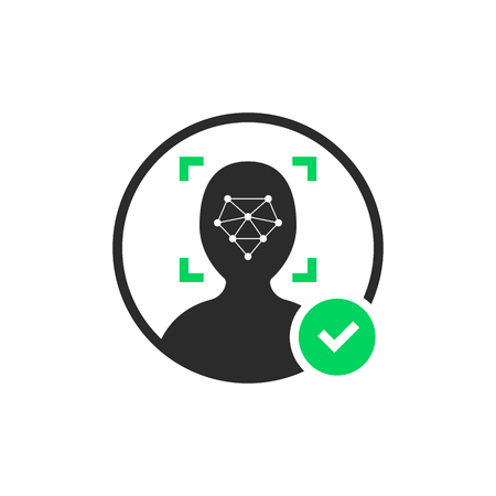 face id scanner logo with check mark