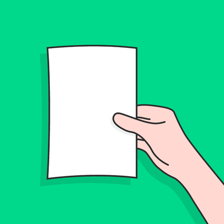 woman hand holding linear document. concept of person watching or showing portfolio or brochure with check list. contour flat style trend modern simple graphic art cartoon design isolated on green Ilustração