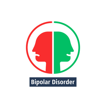 human heads like bipolar disorder Illustration