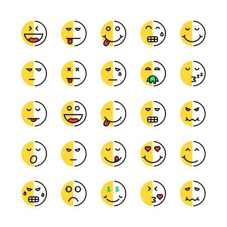 set of linear or cartoon duplicity emoji