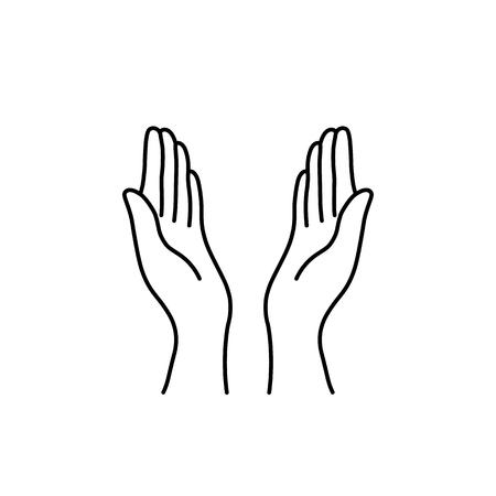 icône noire de mains de prière de ligne mince Vecteurs
